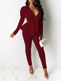 Bowknot V-Neck Solid Color OL Two Piece Outfits