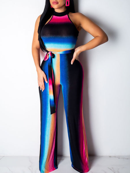 Sleeveless Mixed Color Belted Wide Leg Jumpsuit