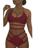 Solid Bandage Hollow Out One Piece Swimwear