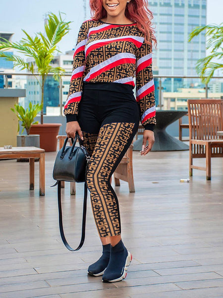 Striped Printed Long Sleeve Top & Pants