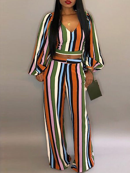Striped Sleeveless Jumpsuit With Ruffles