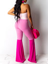 Color Block Strapless Jumpsuit With Belt