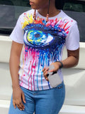 Plus Size Eye Print Tie Neck T-shirt