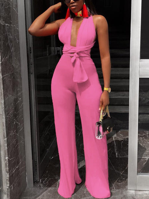 Solid Deep V-neck Bandage Jumpsuit