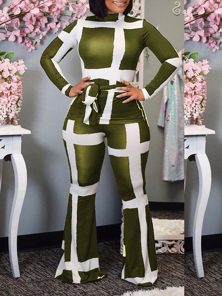 Turndown Collar Camouflage Jumpsuit With Belt