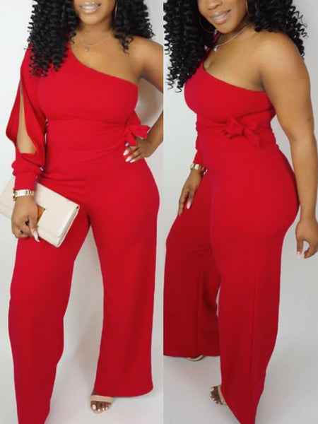 Placement Print V Neck Open Back Jumpsuit