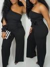 Pierced Off One Shoulder Belted Wide Leg Jumpsuit