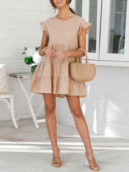 Solid Casual Sleeveless Ruffle Irregular Mini Dress