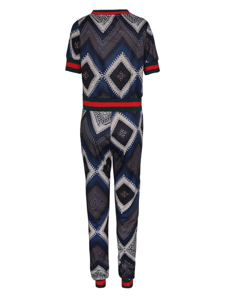 Sexy Print Sweatsuit Two Pieces Suit