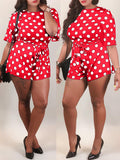 Casual Polka Dot Short Sleeves Romper With Belt