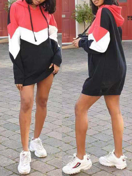 Casual Color Block Hooded Mini Dress