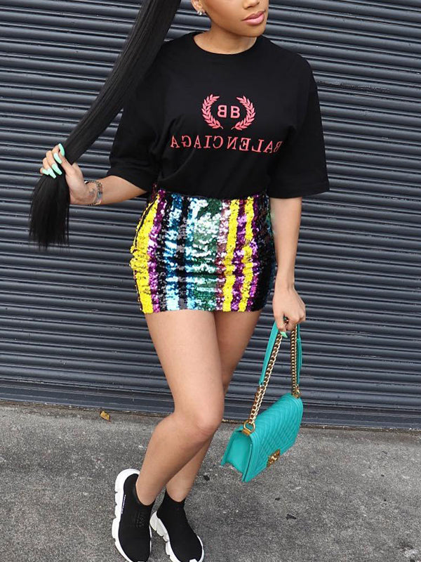Fashion Sequined Mini Skirt