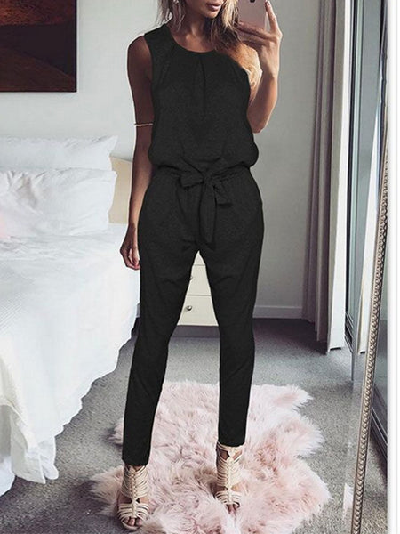 Casual Solid Sleeveless Bandage Jumpsuit
