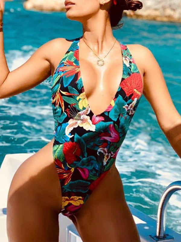 Deep V-neck Open Back Print Sleeveless One Piece Swimwear