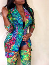Plus Size Turndown Collar Printed Two Piece Sets