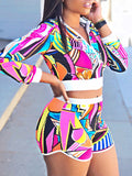 Fashion Long Sleeves Print Two-Piece Outfits