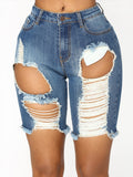 Fashion Broken Holes Denim Shorts