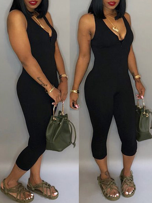Sleeveless V-neck Solid Casual Jumpsuit