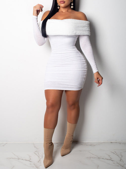 Solid Long Sleeve Off The Shoulder Mini Dress