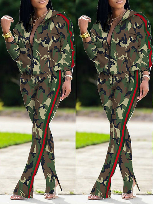 Camouflage Print Plus Size Zipper Two Piece Outfits