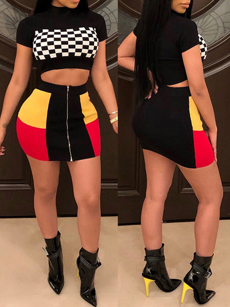 Patchwork Lattice Print High Waist Two Piece Sets