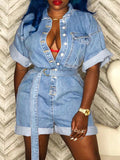 Pocket Buttom Short Sleeve Belted Denim Romper