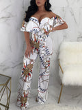 Off The Shoulder Print Jumpsuit With Belt