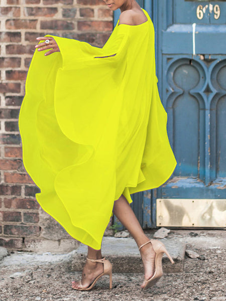 Chiffon Batwing Sleeve Solid Color Off One Shoulder Midi Dress
