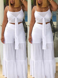 Solid Color Tie Up Sleeveless Open Back Two Piece Sets