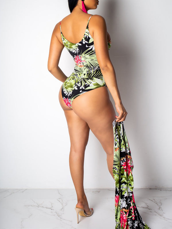 Lace Up Flower Print Swimwear & Cover Up