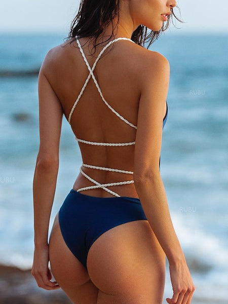 Backless Print Halter One Piece Swimwear