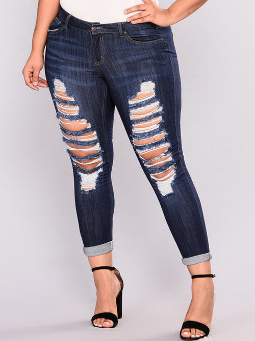Sexy Hollow Out Jeans(Plus Size)