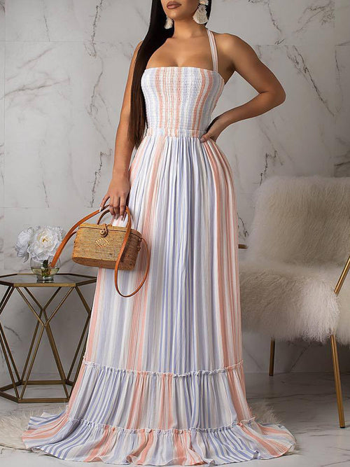 Colorful Halter Neck Open Back Sleeveless Maxi Dress
