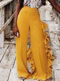 Fashion Flounced Solid Wide Leg Pants