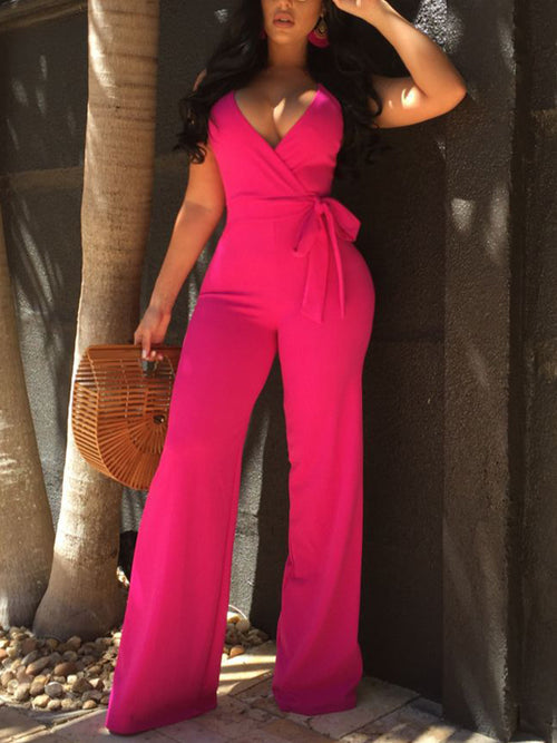 Solid V-neck Bandage Jumpsuit