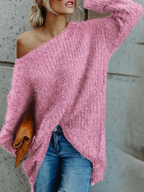 Sexy Solid Color Skew Neck Sweater