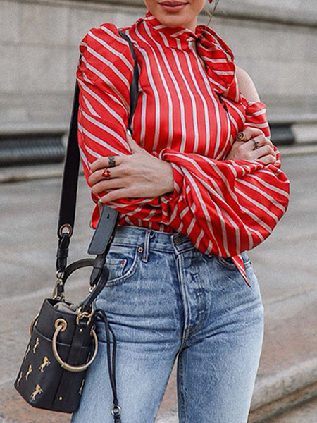 Fashion Stripe Print Lantern Sleeve Top