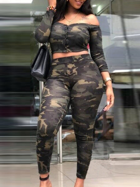 Camouflage Print Off The Shoulder Top & Pants