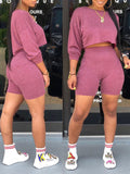 Solid Color Batwing Sleeve High Waist Top & Shorts