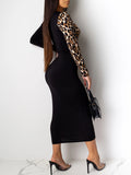Hollow Out Patchwork Leopard Print Midi Dress