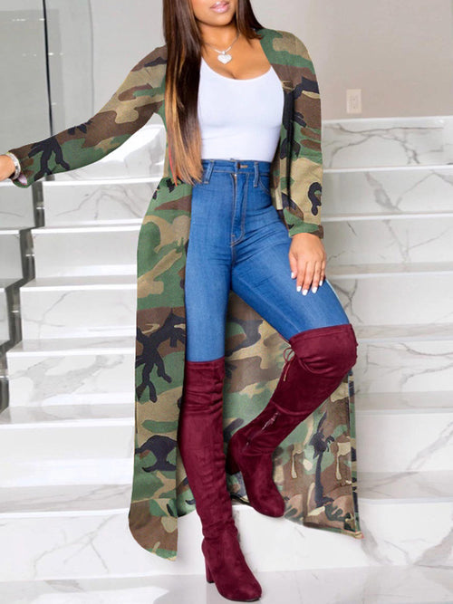 Camouflage Printed Long Sleeve Cardigan