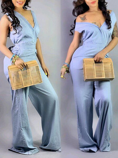 Denim V-neck Belted Open Back Sleeveless Jumpsuit