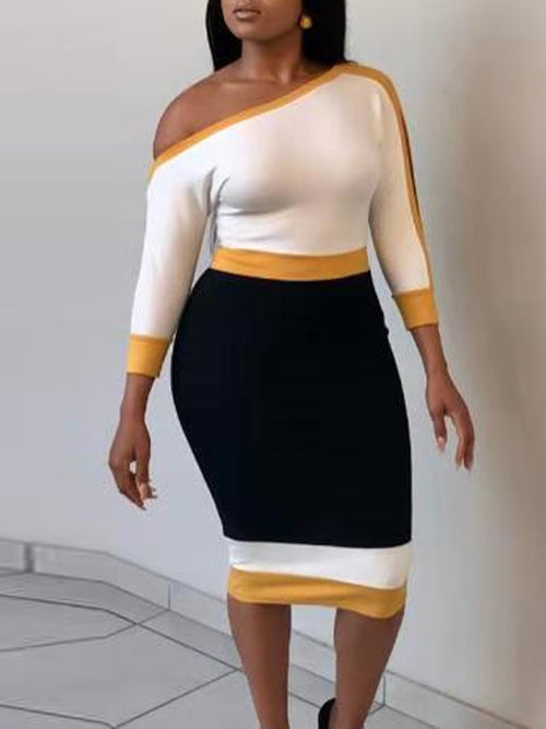 Fashion Skew Neck Color Block Midi Dress