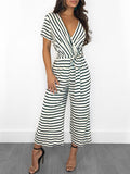 Casual Stripe Print V-neck Short Sleeve Jumpsuit