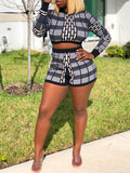 Casual High Waist Plaid Print Two Piece Outfits