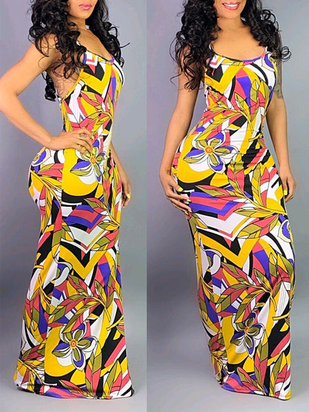 Spaghetti Straps Printed Open Back Maxi Dress