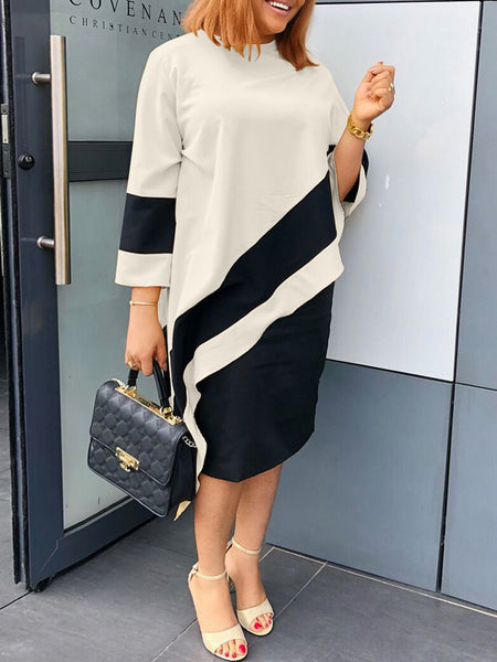 Casual Color Block Two Piece Midi Dress