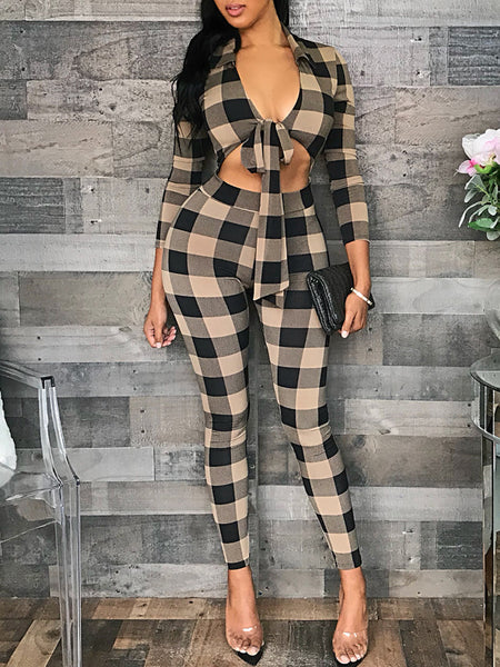 Sexy V-neck Plaid Print Two-Piece Outfits