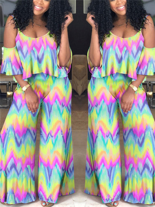 Ruffled Cold Shoulder Tie Dye Casual Jumpsuit