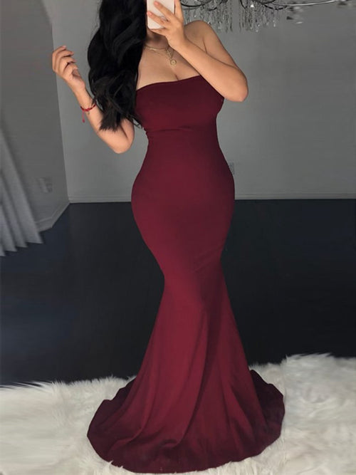 Back Bandage Strapless Party Maxi Dress